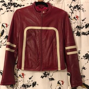 Dark red leather Moto jacket size s (WITH TAGS)